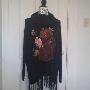 Desigual sweater fringed boho floral design Size M